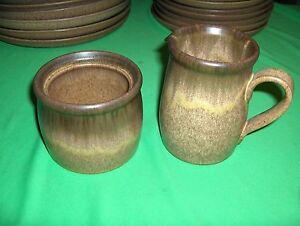 Vintage Open Sugar & Creamer  Denby-Langley China Pottery Romany-Brown NICE