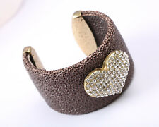 Leather Cuff Bracelet with Rhinestone Heart