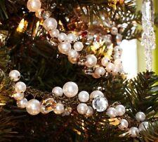 NWT Pottery Barn Christmas Tree Ornament Pearl Bead Jewel Crystal Jewel Garland