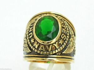 12x10 mm United States Navy Military May Green Emerald Stone Men Ring Size 8