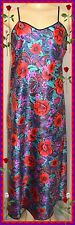 NWOT M DELICATES Red Mutli Floral Print SILKY SATIN LONG NIGHTGOWN BUST TO 38""