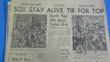BOSTON RED SOX -OCTOBER1,1967 WIN OVER TWINS ON NEXT TO LAST DAY IN 1967 PAPER