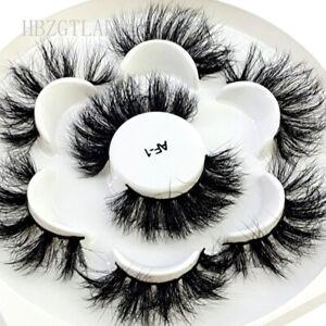 NEW False Lashes 4 Pairs handmade 3D mink eyelashes big fluffy  Makeup lashes
