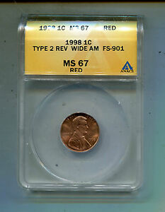 1998P Lincoln Cent Type 2 Rev. Wide AM-FS901-ANACS MS67 Red