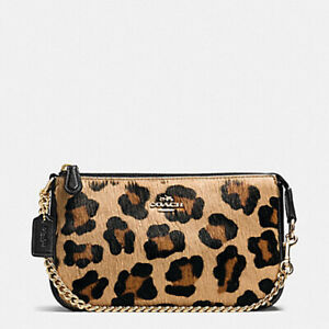 New with Tag Box COACH F64583 Large Wristlet 19 inch Haircalf Leopard