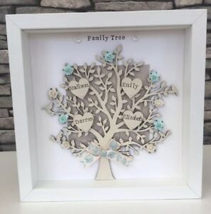 Personalised Family Tree Frame Gift Mothers Day Grandma