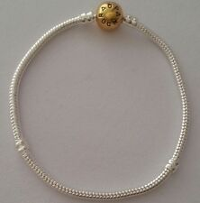 Silver S925 Snake Chain European Bracelet Charm Gold Tone Barell Clasp 6.75 17cm