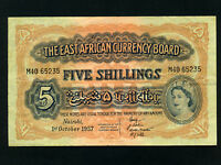 East Africa:P-33,5 Shillings,1957 * Queen Elizabeth II * VF+ *