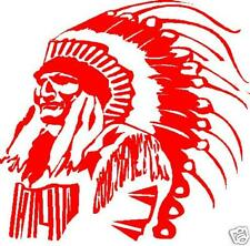 RED INDIAN CHIEF TRIBAL  FEATHERS CAR DECAL STICKER
