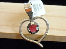 Heart Shaped Sterling Silver Gemstone Handcrafted Pendant Faceted Rhodonite