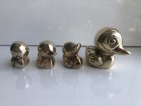 Set Of 4 Vintage Brass Ducks Figurines or Paper Weights - 3 Ducklings 1 Mom Duck