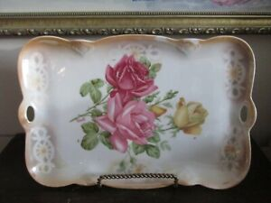 Vintage Germany Hand Painted Tray Yellow And Red Roses Signed Orville