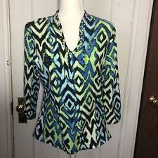 Ruby Rd Top Size M Blue Green V Neck Ruby Road Womens Blouse
