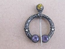 Antique French Sterling Silver Ambre/Perl Brooch/Fibule/Pin/ Ethnic