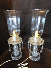 "Vintage Pair Hurricane boudoir mantle Table Lamps Crystal Prisms & chimney 18""T"