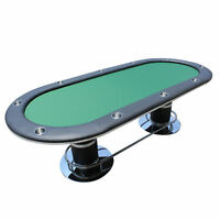 Texas Poker Table 10 Player Stainless Steel Cup Holders Green+ Pur Casino Dice