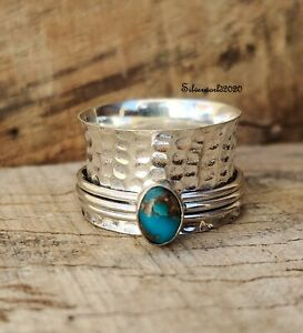 Copper Turquoise Ring Spinner Ring 925 Sterling Silver Plated Ring Size 9 hh68