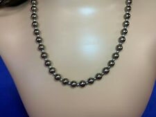 """Necklace 20"""" Silver Round Beads And Antique Spacers"""