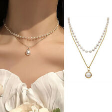 Women Double Pearl Choker Clavicle Chain Necklace Pendant Charm Jewelry Gifts