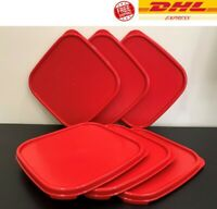 6 x Tupperware Modular Mates Square Red Seal Cover Lid  FREE EXPRESS SHIPPING