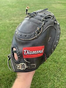 "Diamond D1000 Steerhide Leather Baseball Catchers Mitt Glove 33"" RHT Black"