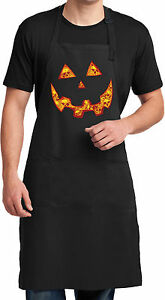 Mens Halloween Jack O Lantern Skull Full Length Apron with Pockets