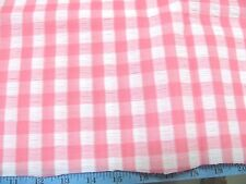 """1-1/4 YDS PINK/WHITE GINGHAM PIQUE COTTON BLEND FABRIC 44"""" WIDE"""