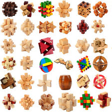 1PC Wooden Interlocked Cube Puzzle Intelligence Brain Teaser Toy For Adults Kids