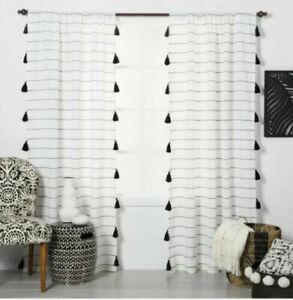 "ONE OPALHOUSE Black & White Stripe Curtain Panel Tassel Trim 84"" NEW"