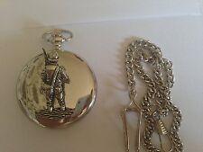 F38 Fly Fisherman Emblem on a polished silver case GIFT quartz pocket watch fob