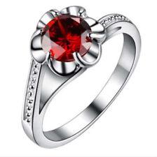 US SELLER Fashion RUBY JULY Gemstone SIZE 8 Crystal FLOWER Wedding Ring Jewelry