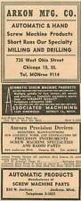 1946 Arkon Mfg Co Monroe Chicago Aurora Precision Devices Geneva Illinois Ad