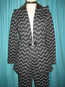 vtg 70s DOMANI Knit Chevron Black White tux BELL BOTTOM Power Pant Jacket Suit S