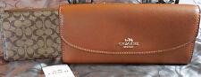 COACH~Crossgrain LEATHER Pop Slim Envelope Wallet ~F52628~ Saddle Brown~NWT $250