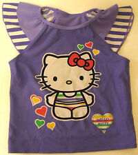 HELLO KITTY PURPLE FRILLY STRIPED SUN SAFE UV PROTECTION TOP SWIMWEAR 4-5 YEARS