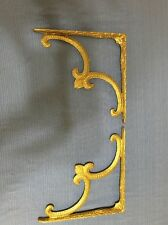 Antique Brass Shelf Brackets Decorative Old Vintage Hardware