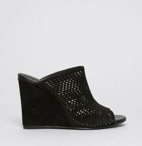 JOIE Black Kellie Perforated Suede Open Toe Wedge Mules Sz 39 / 9 US $295