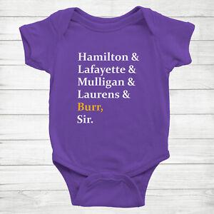 Hamilton Laurens Lafayette Mulligan Burr Musical Cute Baby Infant Bodysuit