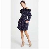 Rebecca Taylor Francine Navy Floral Smocked Dress Size 6 $389