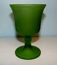 """Vintage Indiana Glass Frosted Satin Green Glass Goblet """"Harvest Grape"""" Design"""