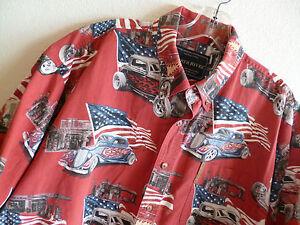 North River Hawaiian  Shirt  Old Time Jalopies  Gas Stns  Stars/Stripes   XL