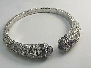 Sterling Silver Judith Ripka Hinged Cuff Amethyst & CZ Bracelet