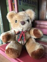 1980s Vintage Small Teddy Bear Fully Jointed Plush Toy Boots The Chemist England