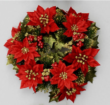 """New 3"""" Candle Ring Christmas Decoration 'Red Poinsettia' Fits Pillar Candles"""