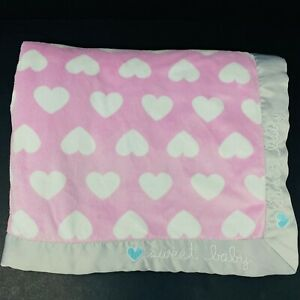 Gerber Sweet Baby White Hearts Blanket Purple Sherpa Gray Satin Trim Edge Pink
