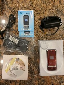 Motorola K1m KRZR AT&T/BELL Cell Phone Red Complete Accessories And Box Works