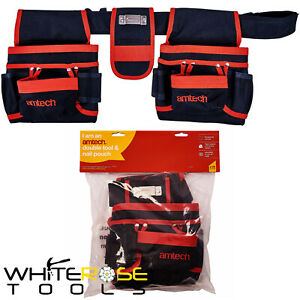 Amtech Tool Belt & Nail Pouch 20 Pockets Double Storage Tape Holder Bag