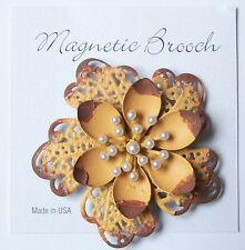 Magnetic Brooch Clip Clasp Pin Brushed Yellow / Brown Metal Flower Scarves Shawl