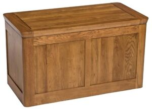 Solid Oak Large Blanket Box | Toy Storage Trunk/Chest | Wooden Ottoman