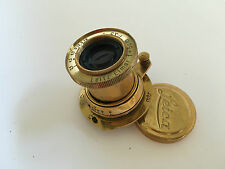 Gold Leitz-Elmar-f3-5-5cm, Russian made copy for Fed, Leica, Zorki.
